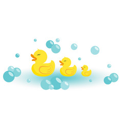 Rubber ducks icon flat vector