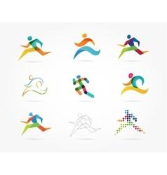 Running marathon people run colorful icon set vector