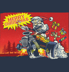 santa claus drive the hot rod car vector image