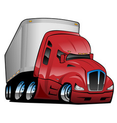 Semi truck with trailer cartoon vector