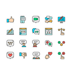 set feedback flat color line icons chat vector image