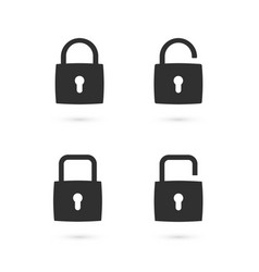 set flat padlock icons vector image