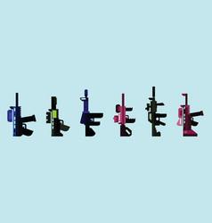 Set gun cartoon icon design template vector