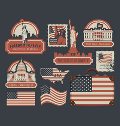Set of american symbols and landmarks with flag vector