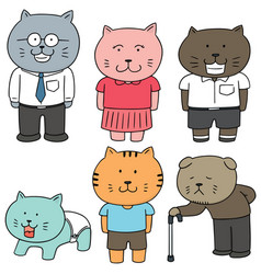 Set of cat family vector