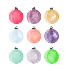Set of decorative watercolor christmas balls vector