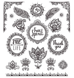 Set of Ornamental Boho Style Frames and elements vector