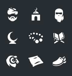set of religion islam icons vector image