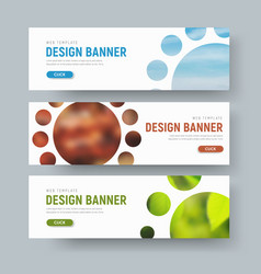 Set of white horizontal web banners with round vector