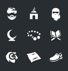 Set religion islam icons vector