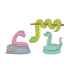 set snakes vector image