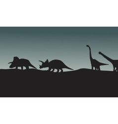 Silhouette of triceratops and brachiosaurus vector image