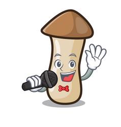 Singing pleurotus erynggi mushroom mascot cartoon vector
