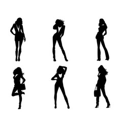 six girls silhouettes vector image