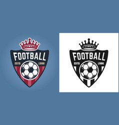 soccer shield two styles emblems or badges vector image