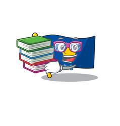 Student with book flag kosovo mascot cartoon vector