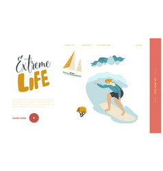 surfing recreation in ocean landing page template vector image