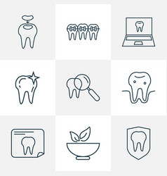 Tooth icons line style set with braces inspect vector