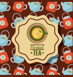 Top view herbal tea teacup lemon and teapot vector