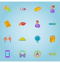Translation icons set cartoon style vector