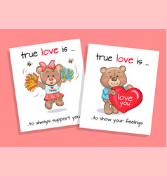 true love is to show feelings always support set vector image