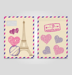 Vintage romantic envelopes with eiffel tower and vector