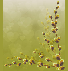 Willow branches on a green background with hearts vector