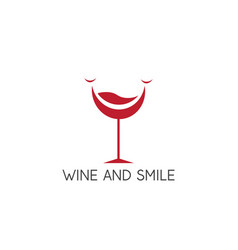wine glass and smile in it design template vector image
