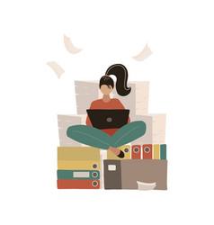 Woman at work doing yoga lotus pose pile paper vector
