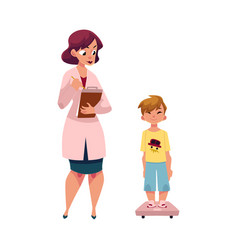 Woman doctor measuring weight of boy child kid vector