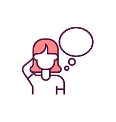 Woman with blank think bauble rgb color icon vector