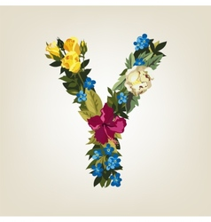 Y letter Flower capital alphabet Colorful font vector