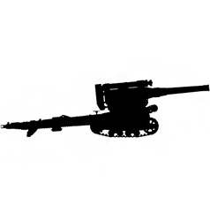field gun silhouette vector image vector image