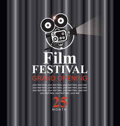 film festival poster with old fashioned camera vector image vector image