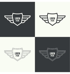 Badge with wings vector