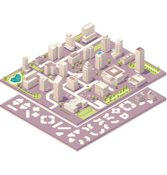 Isometric city map creation kit vector image vector image