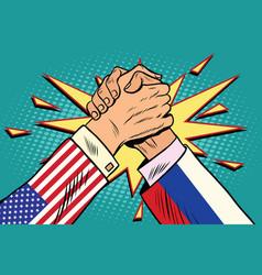 usa vs russia arm wrestling fight confrontation vector image vector image