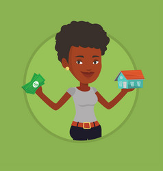 woman buying house thanks to loan vector image vector image