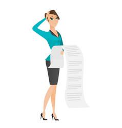 caucasian accountant holding long bill vector image vector image