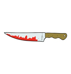 comic cartoon bloody kitchen knife vector image vector image