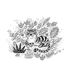 contour print tiger in tropical leafs black and vector image vector image