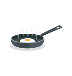fried eggs on pan with handle vector image
