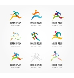 Running marathon people run colorful icon set vector image vector image