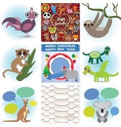 Set of funny animals Greeting cards Happy Birthday vector image vector image