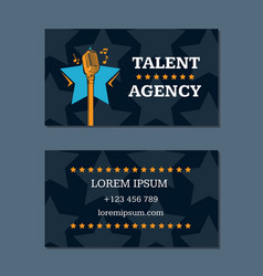 talent agency business card template with vector image vector image