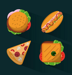 colorful background with fast foods burguer and vector image vector image