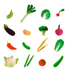 Colorful fruits and vegetables set on white vector image vector image
