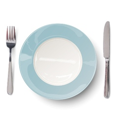 Empty plate in blue design with knife and fork vector image vector image