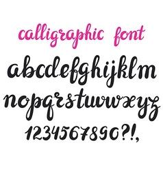 Hand drawn brush pen calligraphy cursive font vector image