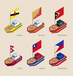 isometric 3d ships with flags of asian countries vector image vector image